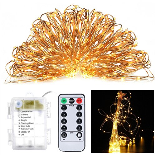 8 Modes String Lights 100 LED Copper Wire Lights Battery Operated Remote Control OrchidBest Indoor/Outdoor Fairy Decoration Lights for Patio, Lawn, Garden, Home, Yard, Christmas Tree(Warm White)