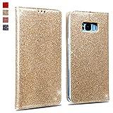 OKZone Galaxy S8 Plus Hülle, Luxus Glitzer Bling Premium PU Leder Handyhülle Brieftasche-Stil Magnetisch Folio Flip Etui Brieftasche Hülle Schutzhülle Tasche Case für Samsung Galaxy S8 Plus (Gold)