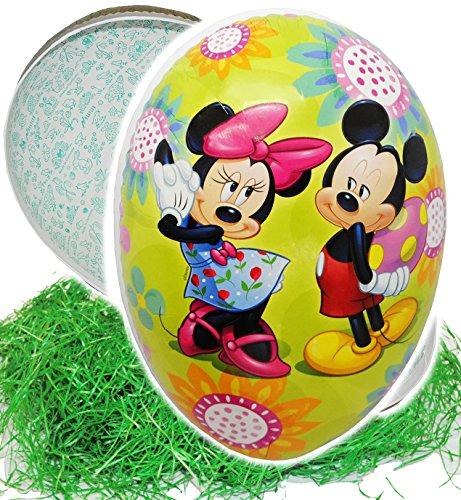 alles-meine.de GmbH Set _ Ostergras & 3 Füll - Pappeier 18 cm -  Disney Mickey Mouse & Minnie  - incl. Name - Osterei / Ei zum befüllen - Deko Pappe Papp Pappeier Dekoei Pappos..