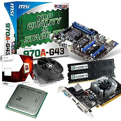 tronics24 PC Aufrüstkit | AMD FX-8320 8x 3.5GHz Octa-Core | 16GB DDR3-RAM PC-1333 | Nvidia GeForce GT730 4GB | MSI 970A-G43 Mainboard mit AMD 970 Chipset | USB3.0 | Gigabit-LAN | Soundkarte