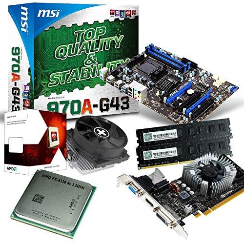 tronics24 PC Aufrüstkit | AMD FX-8320 8x 3.5GHz Octa-Core | 8GB DDR3-RAM PC-1333 | Nvidia GeForce GT730 4GB | MSI 970A-G43 Mainboard mit AMD 970 Chipset | USB3.0 | Gigabit-LAN | Soundkarte