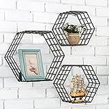 Fil Métal hexagonale à motif à fixation murale flottante étagères, Lot de 3, Noir