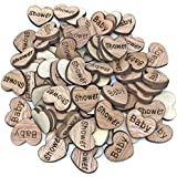 50x Baby Shower 15mm Hearts Wooden Shabby Chic Craft Scrapbook Embellishments Vintage Confetti Heart