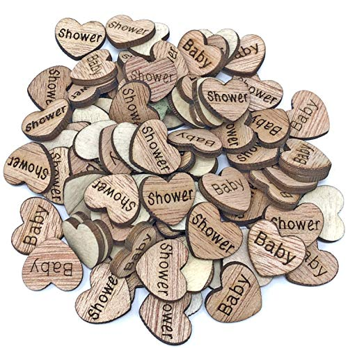 50x Baby Shower 15mm Hearts Wooden Shabby Chic Craft Scrapbook Embellishments Vintage Confetti Heart by Wedding Touches Shabby Chic Baby