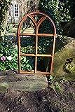 Antikas | Eisenfenster mit Rundbogen | 66 x 39 cm | Als Landhausfenster, Gartenfenster und Garagenfenster