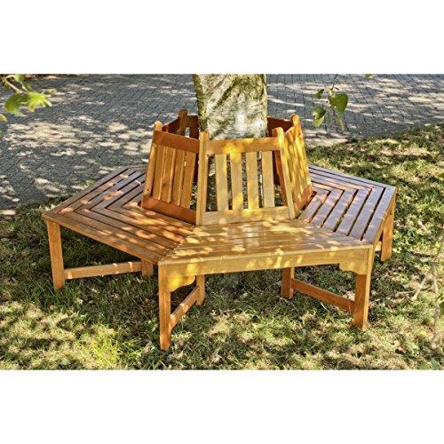 Benelando Sechseckige Baumbank aus Holz