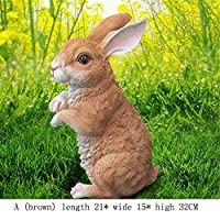 Baoffs-HomD House/Dwelling Garden Ornament Bunnies Rabbits Bunny Garden Ornaments Outdoor Weatherproof Decoration for Home Garden Path Lawn (Color : Brown, Size : A)