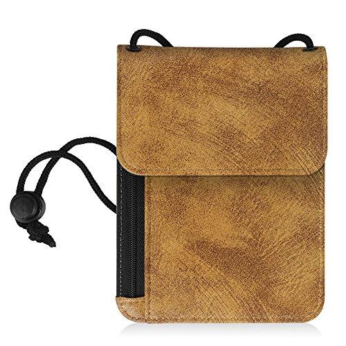 Fintie RFID-Blockierung Brustbeutel - Premium Kunstleder Passhülle Brusttasche Reisegeldbeutel Brustbeutel-Tasche für Maximale Sicherheit für Kreditkarten, Bargeld, Reisepässe, Roségold Khaki