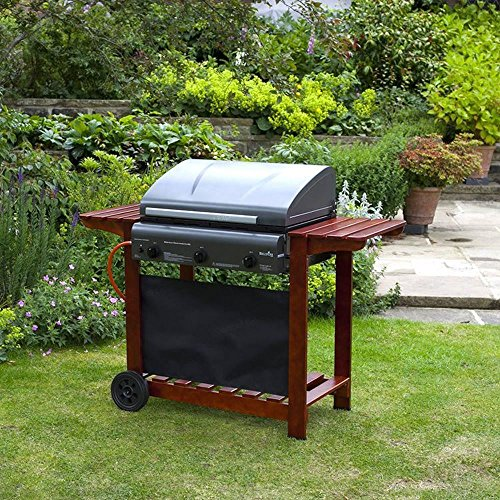 BBQZ Hooded 3 Gas Burner Barbecue with Lava Rock - 64cm x 42cm Grill and Griddle - 2 Wooden Side Shelves - Wheels - Black BBQ