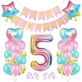 5er Cumpleaños Globos, Decoración de cumpleaños 5 Rosa, Feliz cumpleaños Decoración Globos 5 Años, Foil Globo Número 5 Rosa,