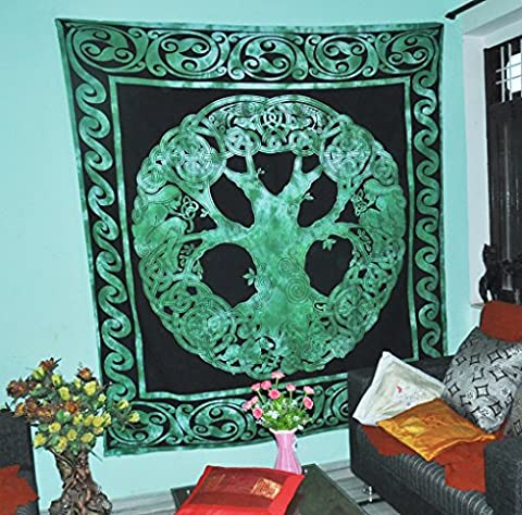 Weavers Celtic Tree of Life Tapestry Blanket Cotton Green Tree of Life Tapestry Good Luck Dorms Psychedelic Hippie Contemporary Canvas Wall Hanging Art Ultimate Tapestry Bohemian Decor