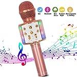 Karaoke Mikrofon, Bluetooth Mikrofon Karaoke Tragbarer 4-in-1Mikrofon mit LED-Tanzlichtern Kompatibel mit Android/PC und...