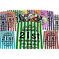 Personalised Birthday Sweet Bags Birthday Party Bags - Printed Candy Bags - Candy Striped Bags