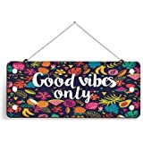PAPER PLANE DESIGN Christmas Wooden Door Wall Hanging Ornaments (11 x 5 inch, Multicolour)