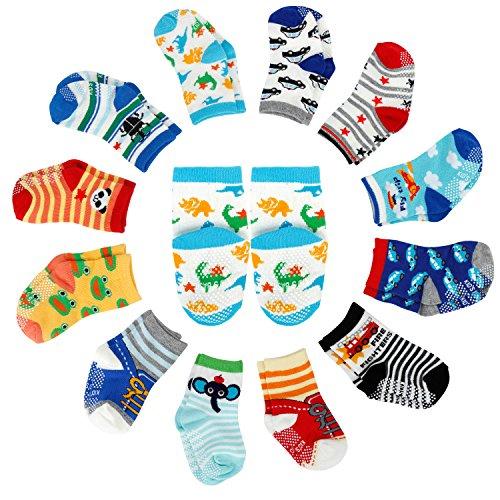 ocken, Anti Rutsch Socken für 12-36 Monate Baby Mädchen und jungen, Schwarz-Weiß-Grau 12er-Pack ()