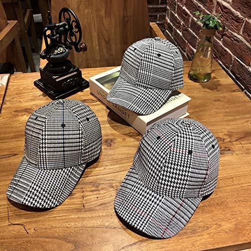 FERZA-hat Home Hut Männer und Frauen Mode schwarz-weiß Karierte Kappen Tide Marke koreanische Version der Wilden England Houndstooth Gebogene Baseballmütze (Schwarz Und Weiß Karierte Hut)