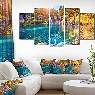 Artdesign Turquoise Water and Sunny Beams Landscape Photography Canvas Print