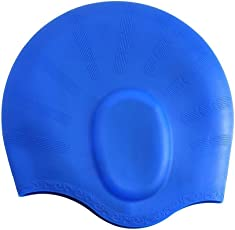 SLYK Swimming Kit with Ear Protection Silicone Swimming Cap + Goggle + Basic Nose Clip and 2 Pair Ear Plugs