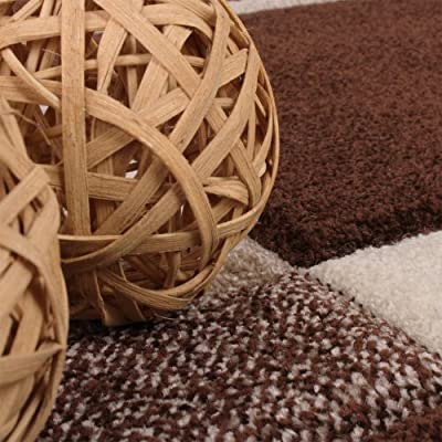 Karo Muster Designer Rug with Contour Cutting Beige / Brown - inexpensive UK light shop.