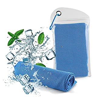 Diswoe cooling towel, Ice Towel, Soft Breathable Chilly Towel- Microfiber Towel for Yoga, Sport, Running, Gym, Workout,Camping, Fitness, Workout & More Activities (Blue)