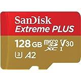 SanDisk Extreme Plus Carte mémoire MicroSDXC 128 Go + Adaptateur SD avec A2 App Performance + Rescue Pro Deluxe, Jusqu'à 170 Mo/s, Classe 10, UHS-I, U3, V30