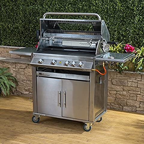 Premier 4+1 Burner Gas Barbecue with Free Propane Regulator - Stainless Steel, Side Burner, Cast Iron Grill & Hot Plate,