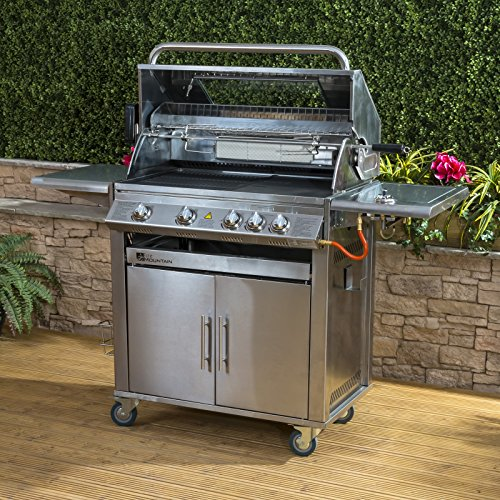 61j7fmk527L. SS500  - Fire Mountain Premier Stainless Steel 4 Burner Gas Barbecue | Viewing Window and Powerful Side Burner | FREE Gas Regulator and Hose