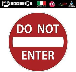 erreinge Sticker DIVIETO di Accesso Adesivo Sagomato in PVC per Decalcomania Parete Murale Auto Moto Casco Camper Laptop cm 35