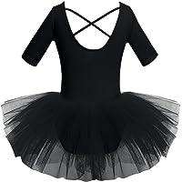 Zaldita Big Girls Sequins Straps Camisole Lyrical Ballet Asymmetrical Dance Leotard Dress Gymnastics Performance Costume