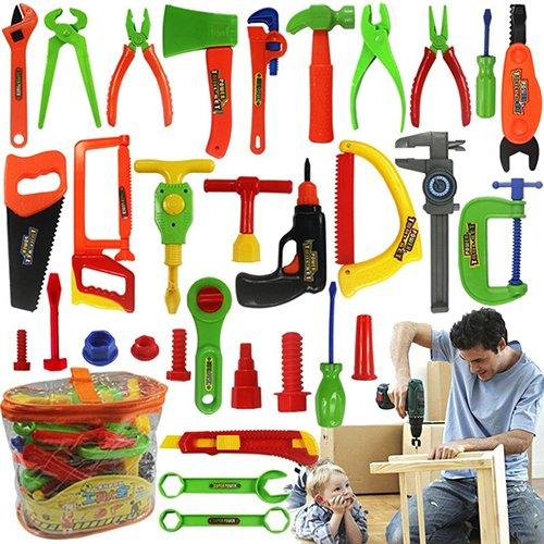 Makwes 32 Stücke Spielzeug, Kinder Spielen Pretend Toy Tool Set Werkbank BAU Werkstatt Toolbox Werkzeuge, Kinder BAU Lernspielzeug Kunststoff Gebäude Tool Kits Set