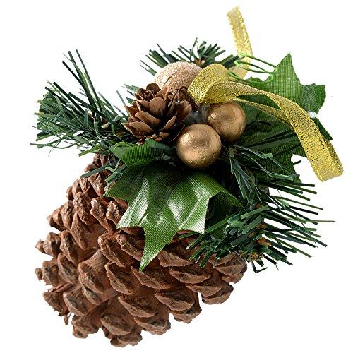 Pigne werchristmas decorati, decorazione natalizia, 5 pezzi, rame/oro