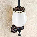 Weare Home Alle Messing Antik Vintage Retro Design Schwarz Öl rubbed Bronze finished Toilettenbürstenhalter mit keramik Becher für Badezimmer Wandhalerung Bohren Wandmontag