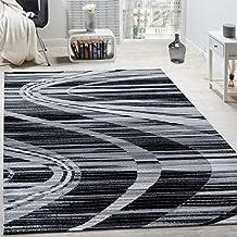 Alfombra De Diseño Noble Cuadros De Pelo Corto En Gris Crema Negro Moteado , Grösse:80x150 cm