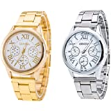 Weicam Women Girls Wholesale 2 Pack Watch Set Roman Numerals Dial with 3 Decorated Small Sub-dials Men Business Stainless Ste
