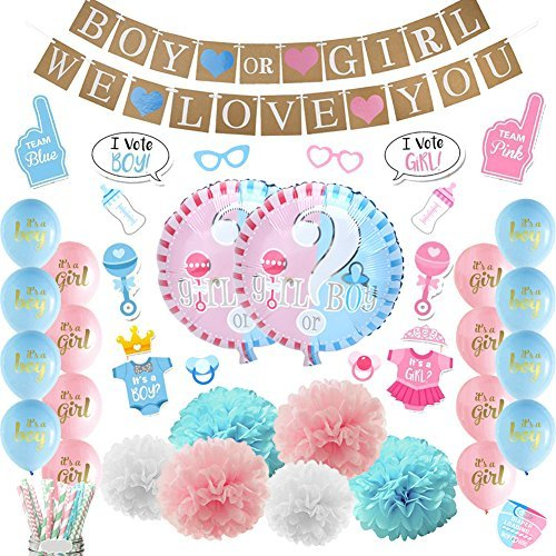 Luck collection baby shower decorazioni per feste ragazzo o ragazza genere reveal party supplies confezione da 84 pezzi