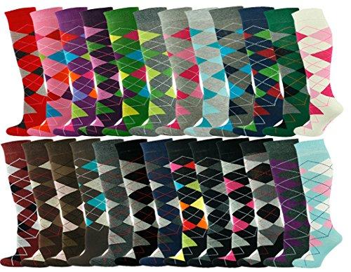 Mysocks® Unisex Knee High Argyle Socks with Extra Fine Combed Cotton