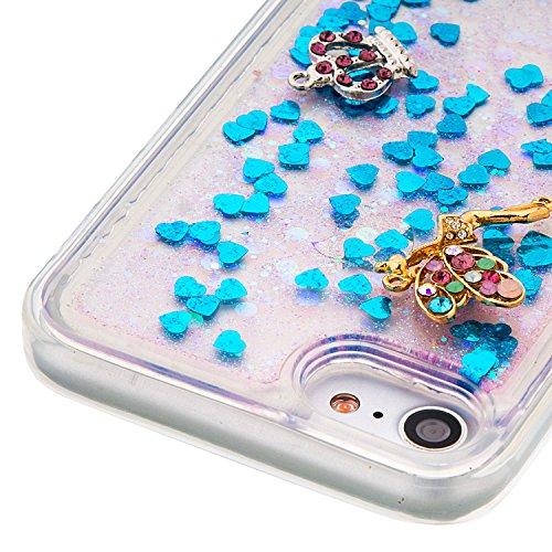 """MOONCASE iPhone 7 Coque, Glitter Sparkle Bling [Angel] Faux Diamant Dessin Motif Liquide Étui Coque pour iPhone 7 4.7"""" Soft TPU Gel Souple Case Housse de Protection Or 03 Bleu 03"""