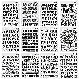 CCMART Plastique Bullet Journal Pochoir Lot de 12 avec l'alphabet lettres Nombre Symbole Pecfect pour planning/ordinateur portable/agenda/scrapbook/Journalisation)/Graffiti/carte DIY Dessin Peinture projets d'artisanat