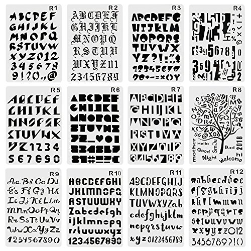 Bullet Journal Stencils,EVNEED 12 pcs Plastic Template with Letters Number Alphabet DIY Drawing Planner Accessories for Diary Scrapbook Craft Notebook,10.3 X 6.9 Inch