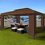 Deuba® Pavillon 3x4m braun ✔ 12m² ✔ wasserabweisend ✔ Dachhaube ✔ Festzelt ✔ Partyzelt