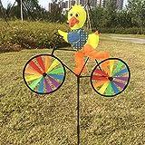 Yunso Windmühle UV-Schutz & Wasserdicht Windrad 3D Tier Auf dem Fahrrad Windspiel Garten BalkonTerrasse Dekoration (Ente)