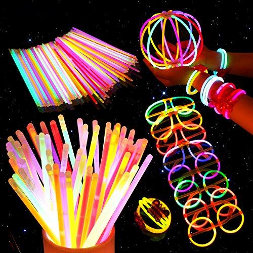Unomor Knicklichter Party Set, Premium Armbänder, Ketten, Set für Brillen, Dreifach Armbänder, Ein Stirnband, Ohrringe, Blumen, Ein Leuchtball und Vieles Mehr (Knicklichter Party Set)