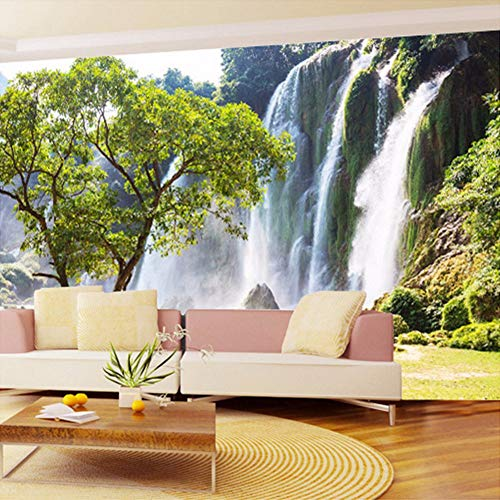 Yologg Custom Mural Wallpaper 3D Wall Mural Natural Landscape Waterfalls And Green Tree Photo Wallpaper Non-Woven Wall Coverings Paper-250X175Cm