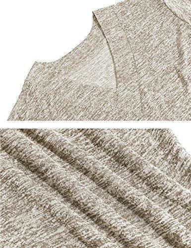 Yidarton Damen Shirt Casual V-Ausschnitt Kurzarm Thin Plain Loose Fit Pullover Hemd Bluse Tops Kaffee