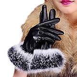 Butterme Damen Warm Kaninchen Fell gefüttert Leder Handschuhe Texting Touchscreen Handschuhe Winter Warm Handschuhe Fäustlinge (Schwarz,L)
