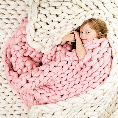 Chunky Knitted Blanket, Essort Handmade Crocheted Knitted Blanket, Warm Winter Sofa Cover Blanket, Thick Thread Blanket Knitted Quilt for Bed, Living Room,Yoga, Rug Decor Cream 100*120cm