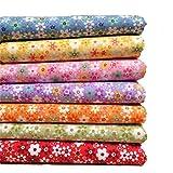 MeineBeauty 7 Stück Patchwork Stoffe DIY Gewebe Set Gemischte Baumwolletuch Stoffpaket zum Nähen Tischdecke mit vielfältigem Muster(25cmx25cm) (Bunt)