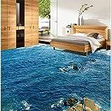 ShAH Benutzerdefinierte Moderne Stock High-Definition-Blaue Wasser Landschaft Wasserdicht Rutschfest Bad Küche Balkon 3D Tapete Hintergrundbild Wallpaper Wandmalerei Fresko Mural 350cmX250cm