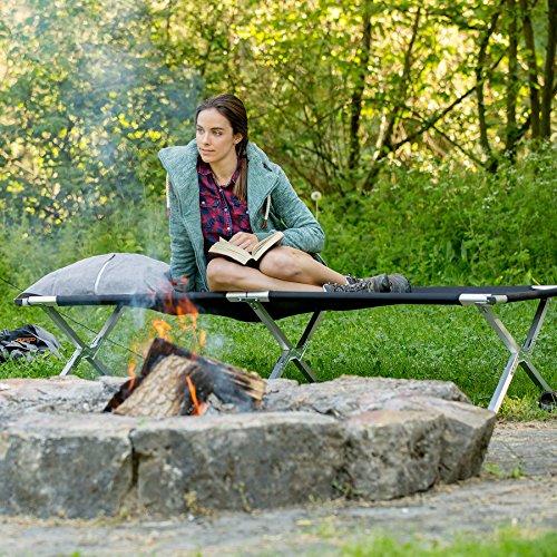 TecTake Lit de camp pliable XL 150kg lit d'ami camping jardin pliant + poche NOIR