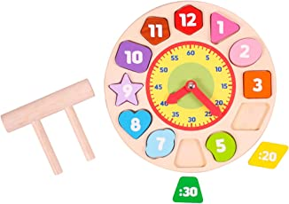 Shape Sorting Clock - Wooden Toys - Brainsmith - Early Learning - Pretend Play - Imagination - Teaching Time - Story telling Activity - Counting Skills - Creativity building - Birthday gift - Return Favour - Play and Learn - Child safe toys - 3 years and above